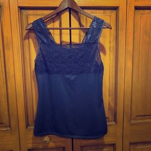Cinema Etoile blue tank with lace OS